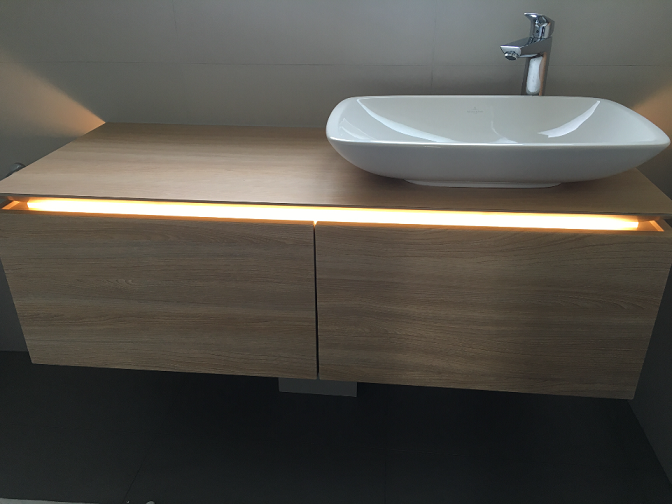 Villeroy and Boch basin,basin unit and handgrohe mono tap fitted in another complete bathroom renovation in Burpham Surrey